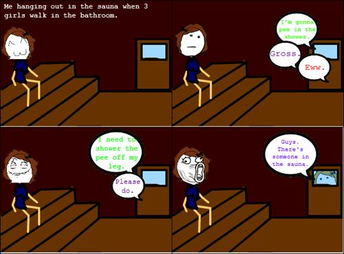 sauna,poker face,awkward conversation