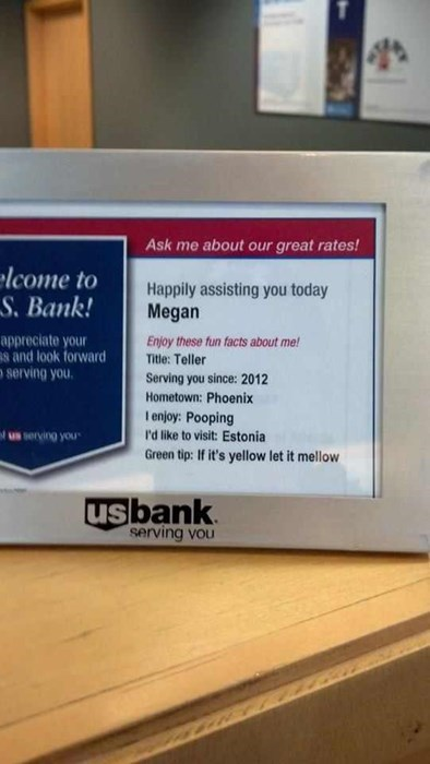 us bank,megan,pooping