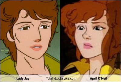 april-oneil totally looks like lady jay funny