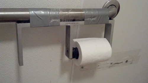toilet paper macgyver duct tape there I fixed it funny - 7729552896