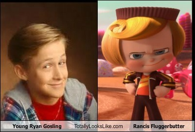 totally looks like,Ryan Gosling,wreck it ralph,rancis fluggerbutter