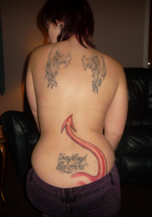 wings backs tattoos devil tails funny - 7732695296