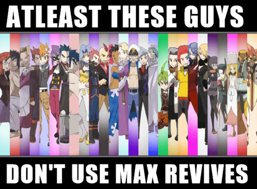 pokemon trainers,max revives,game over