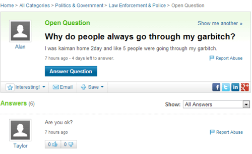 garbage,yahoo answers