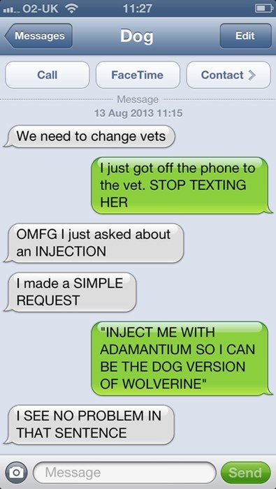 texts reasonable vet wolverine funny