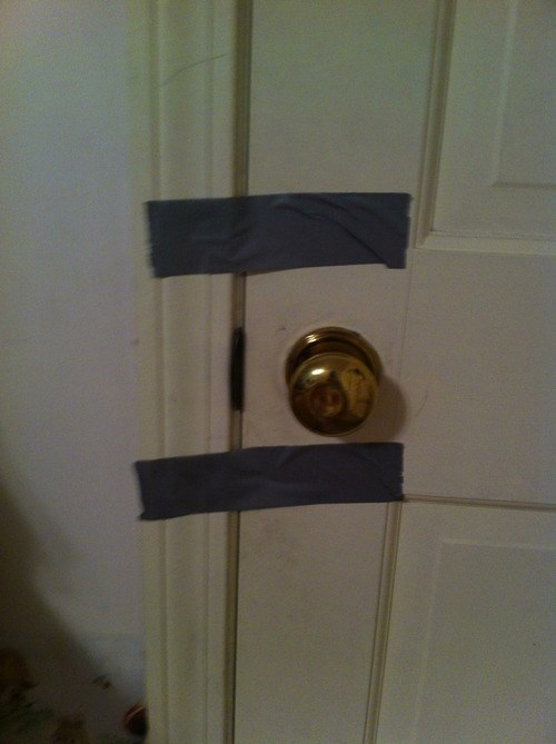 door,lock,duct tape,there I fixed it