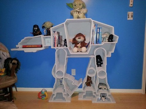 bookshelf,star wars,nerdgasm,at at