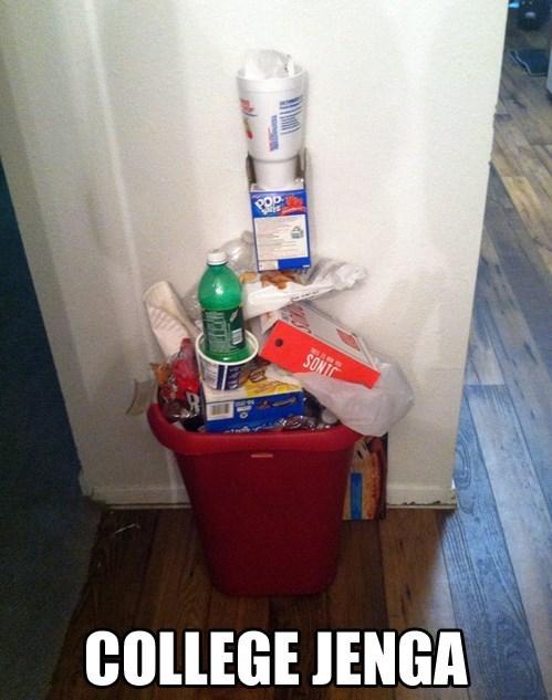 trash,jenga,college