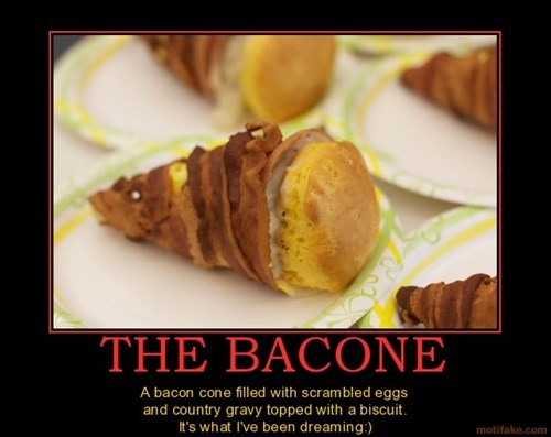 cone breakfast funny bacon