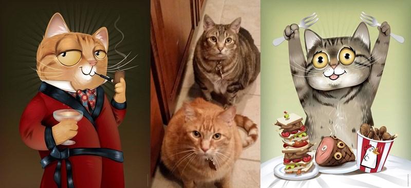Cats dogs illustration pets portraits - 773637