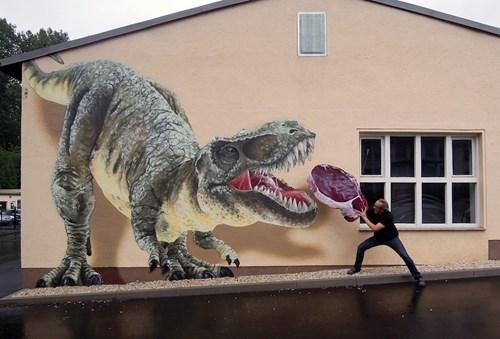 Street Art graffiti hacked irl funny dinosaurs - 7736670464