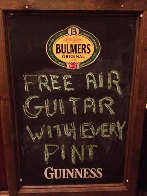 sign funny pubs air guitar