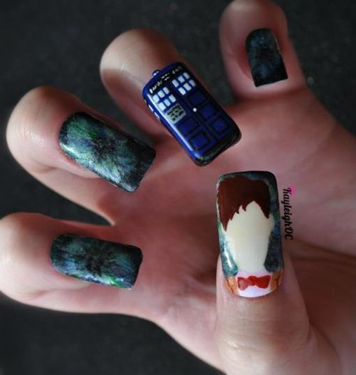 11th Doctor,doctor who,nail art