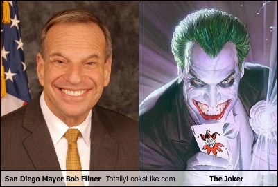 sand diego,bob filner,mayor,the joker,totally looks like,funny