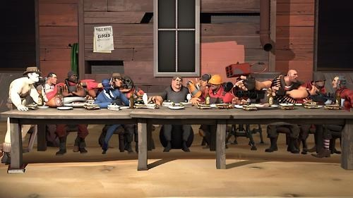 valve gabe newell the last supper Team Fortress 2