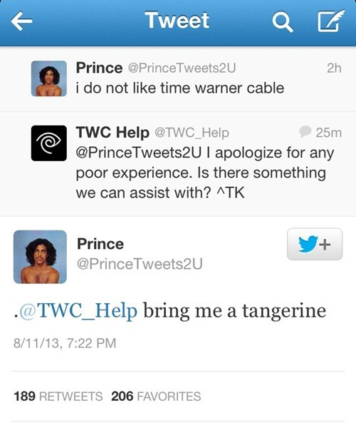 twitter Time Warner Cable prince tangerine - 7742439424