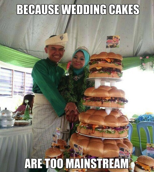wedding cakes hipsters burgers weddings - 7742785792