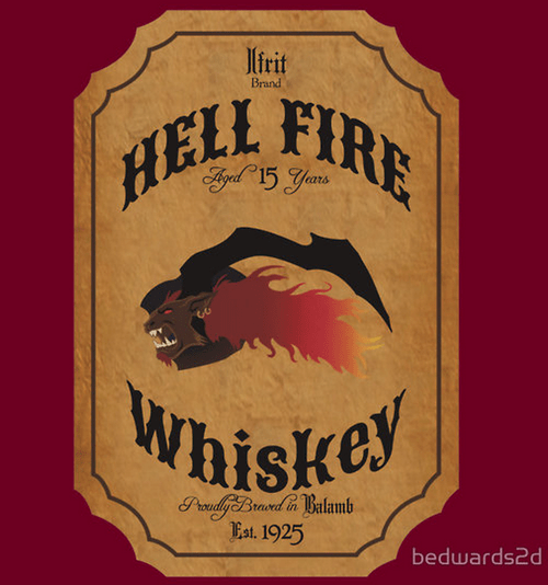 nerds final fantasy whiskey ifrit video games - 7746360576