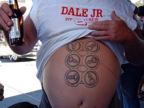 beer,six pack,tattoos,funny