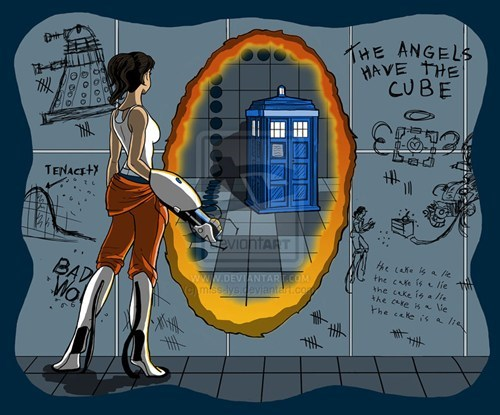 crossover,Fan Art,doctor who,Portal,video games