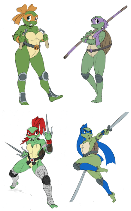 TMNT,Fan Art,rule 63