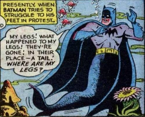 Funny comic of Batman as a mermaid and freaking out that his legs are a huge fish tail.