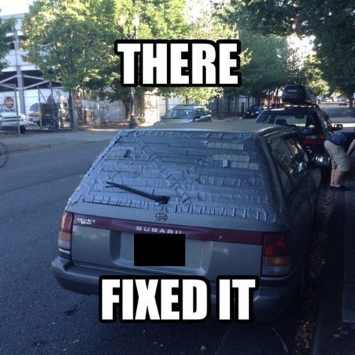 cars,windshield,duct tape,funny,there I fixed it