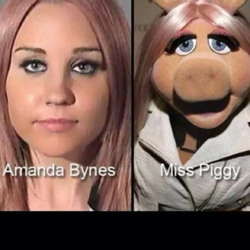 Amanda Bynes,totally looks like,miss piggy,funny