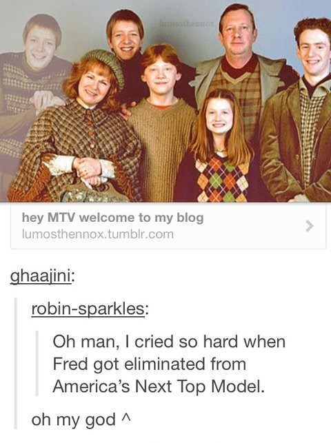 Harry Potter,fred weasley,tumblr,antm,Ron Weasley,the weasleys,Americas Next Top Model