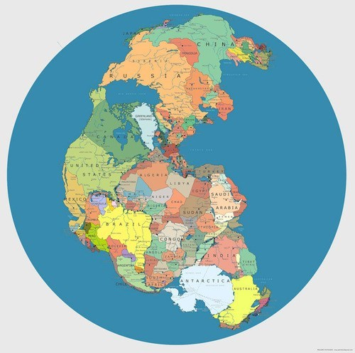 A Map of Pangea With Modern International Borders
