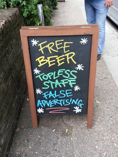 beer sign false advertising funny - 7752342272