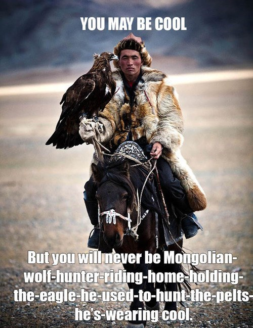 eagle pelt mongolian hunter