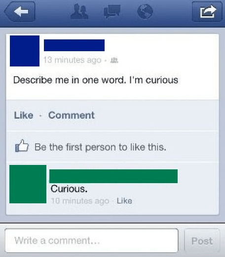 facebook describe me in one word curious - 7753586944