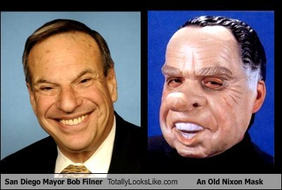bob filner,nixon,mask,totally looks like,funny