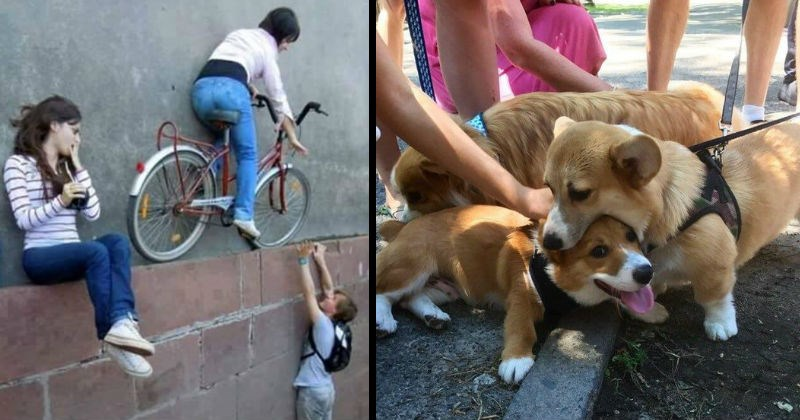 optical illusion, crazy perspective, double take, biking on a ledge