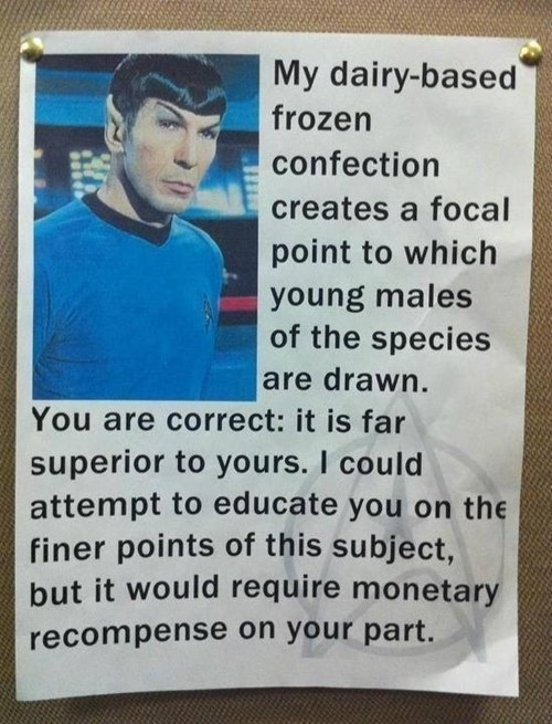 Music Spock nerdgasm milkshake g rated win - 7753954304