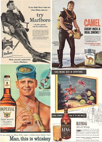 drinking advertisments scuba diver smoking funny - 7754078464