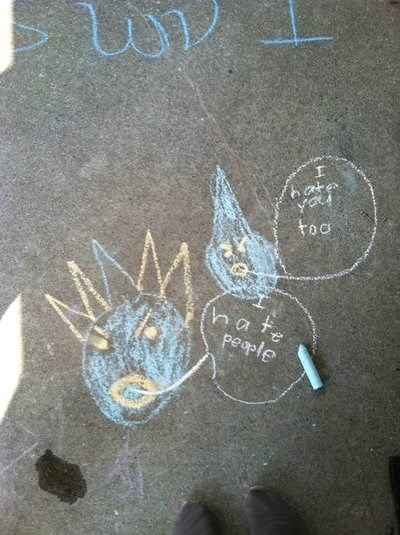 kids,parenting,misanthropy,drawings,chalk