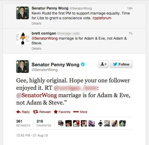 adam and eve,adam and steve,LGBT,Penny Wong,Kevin Rudd,australia,gay marriage,labor party,gay rights