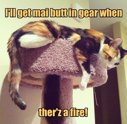 I'll get mai butt in gear when ther'z a fire!