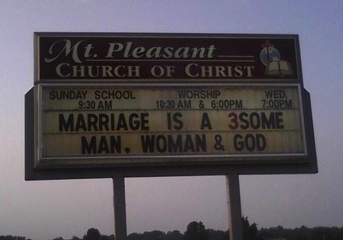 sign,church,threesome,funny
