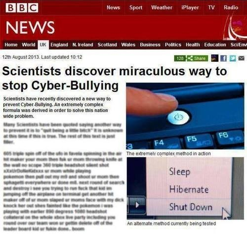 wtf obviously science cyber bullying