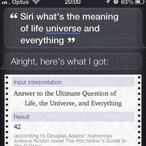 The Hitchhiker's Guide to the Galaxy 42 iPhones siri