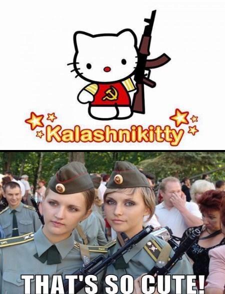 russia ak 47 hello kitty funny - 7756542976