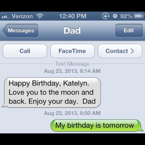 birthday meme of dad who forgot daughter's birthday was tomorrow