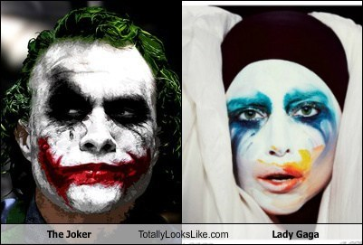 joker dark knight applause totally looks like lady gaga heath ledger