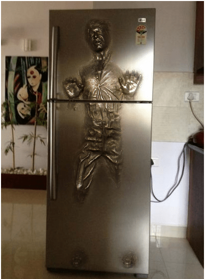 star wars,nerdgasm,Han Solo,fridge,funny,g rated,win
