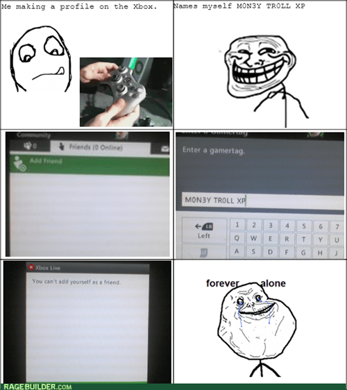 forever alone xbox live xbox 360 - 7761180928