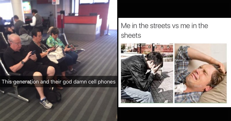funny memes, old people on phones, crying in public and in private