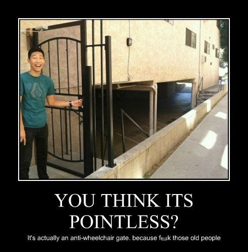 YOU THINK ITS POINTLESS? It's actually an anti-wheelchair gate. because fcuk those old people